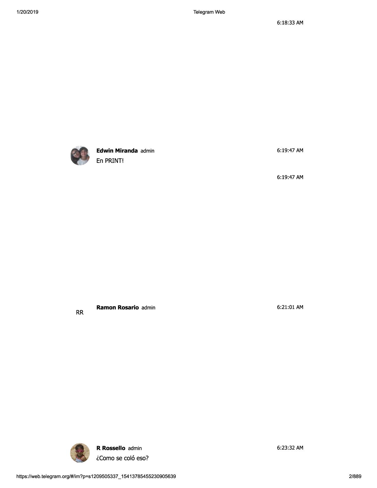 El chat de Telegram